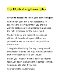 Job Weaknesses Examples List Personal Strengths Resume Of For A Examples Job Weakness