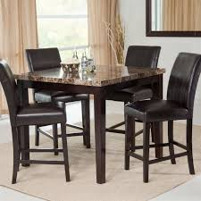 faux leather chair. Counter Height 5-Piece Dining Set With Faux Marble Top Table And 4 Leather Chair
