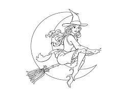 Small Picture Halloween Witch on Halloween Night Coloring Page Coloring