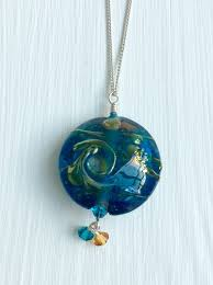 ocean blue handmade glass pendant weidman glass