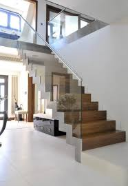 Modern staircase. Thinking of installing safety gates at the top (same  style) &