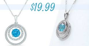 head over to zales where they are offering their swiss blue topaz and white sapphire double circle pendant in sterling silver for 19 99