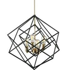 chandeliers cage light chandelier artistry black and brass by lighting 4 modern open industrial