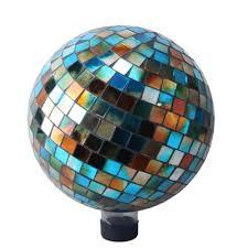 blue amber mosaic gazing ball