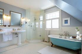 view in gallery traditional bathroom with a splash of blue and corner shower stall from lifeseven photography