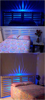 Pallet Lighted Bed Headboard Diy Motive