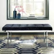 chrome bedroom furniture. Exellent Furniture Modern Sleek Tufted Blue Velvet Accent Bench In Chrome Bedroom Furniture