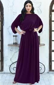Casual Long Flowy Short 3 4 Sleeve Modest Maxi Dress Gown Nt167