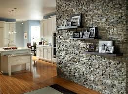 thin wall fireplace love the look of a stacked stone accent wall with floating shelves want
