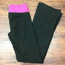 Bally Total Fitness Black Pink Mid Rise Yoga Pants