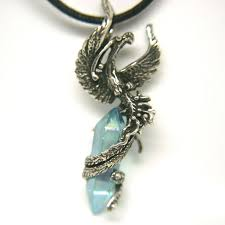 phoenix bird emerging amulet pendant fine antiqued pewter with aqua aura other stone choices silver moon galleria