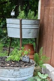 vintage galvanized garden tub planters