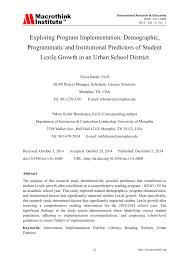 Pdf Exploring Program Implementation Demographic