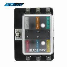 universal power in way blade fuse box holder m stud standard universal 1 power in 6 way blade fuse box holder m5 stud standard 6 3mm spade