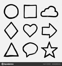 Vector Illustration Hand Drawn Ink Style Basic Geometric Shapes