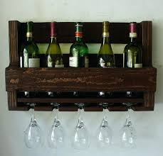 reclaimed wood rustic wine rack glass holder with shelf in dark simply rustic 6 bottle wall