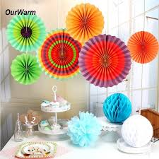 Hanging Paper Flower Backdrop Ourwarm 6pcs Colored Paper Fans Mexican Party Decorations Hanging