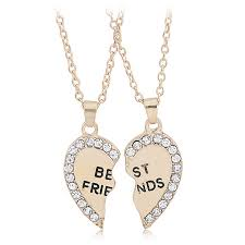 fashion heart rhinestone best friends letters two parts pendant necklace new jewelry