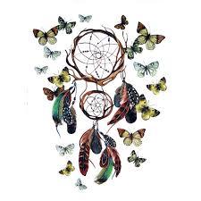 Dream Catchers Tattoos Designs Dream Catcher Net with Butterfly Waterproof Temporary Tattoo 90