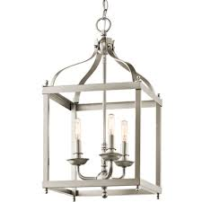 Arched Silhouette Pendant Light Arched Silhouette Lantern 3 Light Brushed_nickel Foyer