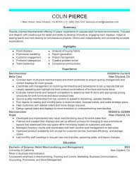 Good Resume Examples Retail Merchandiser Retail Representative Part Time Resume Sample