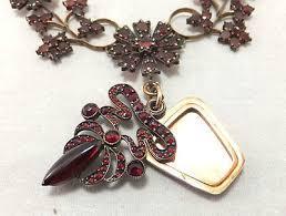 rare antique bohemian czech garnet necklace with hidden locket 416199772
