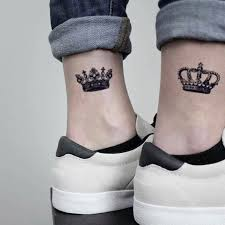 King And Queen Temporary Fake Tattoo Sticker Set Of 2