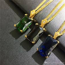 whole trendy charm gem square pendant necklaces for men women fashion green blue black crystal design 18k gold plated chain hip hop jewelry diamond