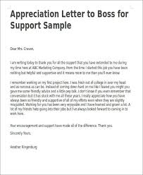 Letter Of Gratitude To Boss Appreciation Letter Boss For Support Sample Thank You Letters