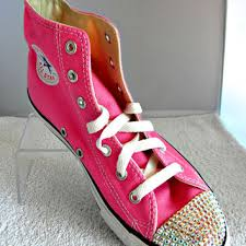 converse shoes for girls pink. glass slippers swarovski crystal pink chuck taylor converse high top all star girls youth sneaker shoes for t