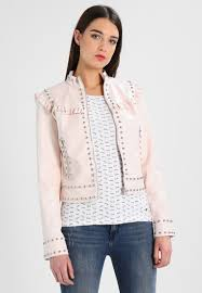 guess kerrie jacket faux leather women clothing jackets pink ivory