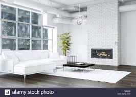 Weiß Wohnzimmer Mit Brick Textur Kamin Neben Sofa Und