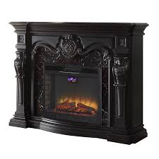 febo flame 62 in w 5 120 btu black wood and metal fan forced electric fireplace