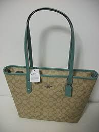 NEW Coach F58292 Signature City Zip Tote Shoulder Bag KHAKI AQUAMARINE   295.00