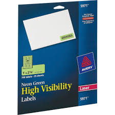 Avery High Visibility Permanent Id Labels Laser 1 X 2 5 8 Neon Green 750 Pack