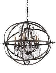vintage bronze byron 6 light globe chandelier with crystal accents f2997 elite fixtures