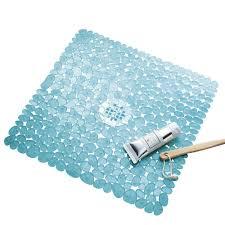 Amazon.com: InterDesign Pebblz Non-Slip Suction Bath Mat – Square ...