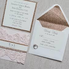 Elegant Blush Pink Laser Cut Wedding Invitation With Rose Gold