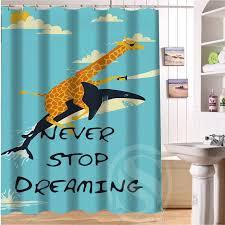 cuatom best gift giraffe riding shark never stop dreaming shower curtain 60x72 inch shower curtain hooks
