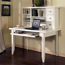 White Wooden Computer Desk With Hutch And Keyboard Tray