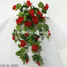 Small Picture Wall Hanging Artificial Silk Geranium Flowers Factory Cheap