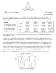 Linen Weight Chart Short Sleeved Dress Tunic Pdf Sewing Pattern Naaien