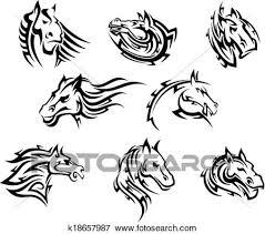 tribal horse head clip art.  Art Clip Art  Horse Head Tribal Tattoos Fotosearch Search Clipart  Illustration Posters In Tribal Head E