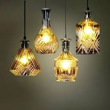 bottle chandelier vintage engraved flower creative glass vase pendant lamp showcase restaurant bar bedroom cafe glass
