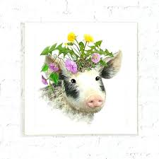 pig wall art piglet with flowers print kids farm animal wall art baby pig nursery wall metal pig wall art on metal pig wall art with pig wall art piglet with flowers print kids farm animal wall art