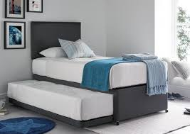 Cheltenham Deluxe Grey Upholstered Guest Bed Including Mattresses ...