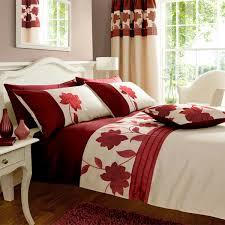 catherine lansfield home clarissa fl applique faux silk duvet cover set red