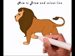 lion drawing color.  Lion How To Draw And Colour Lion 2016  Learn Inside Lion Drawing Color C