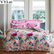 pink flower girls 3d bed linen set queen king size bedding sets bright color 100 cotton bed sheet duvet cover set 4pcs for home in bedding sets from home