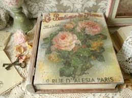 Small Picture Wooden Box Vintage Book Decoupage Eco Friendly Artisan Home Decor